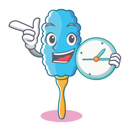 With clock feather duster character cartoon vector illustration