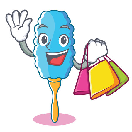 Shopping feather duster character cartoon vector illustration
