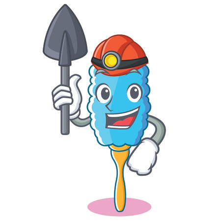 Miner feather duster character cartoon vector illustration