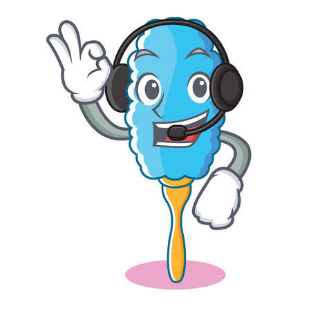 With headphone feather duster character cartoon Illustration