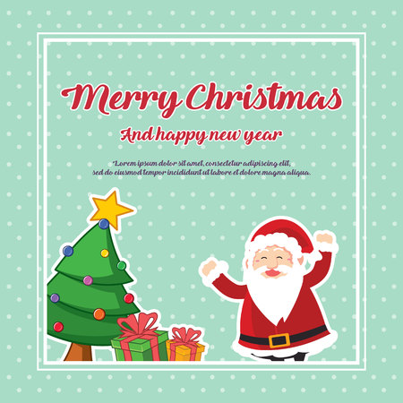 Merry Christmas And Happy New Year with tree and santa claus