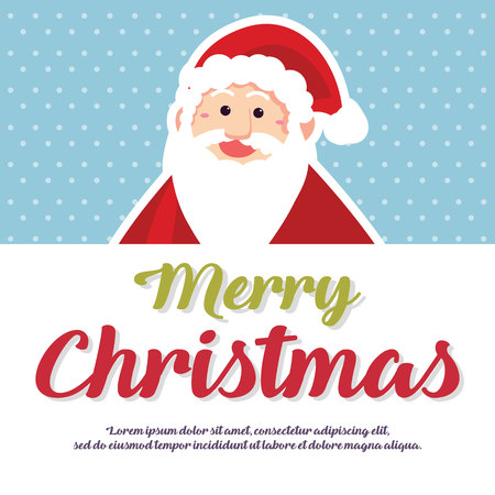 Merry Christmas Cute Card Design with santa Illustration