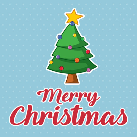 Merry Christmas Cute Card Design Vector Illustration with tree Illustration