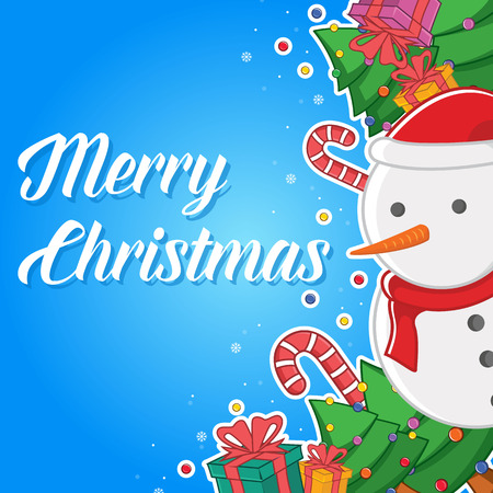 Merry Christmas greeting card style with snowman