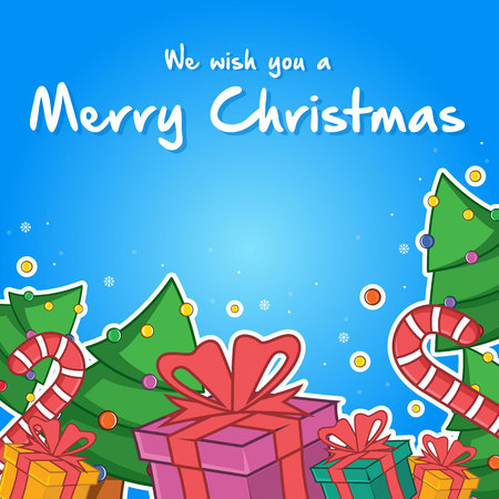 Merry Christmas greeting card style vector illustration Illustration