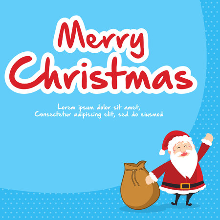 Christmas with gift card style with santa Illustration