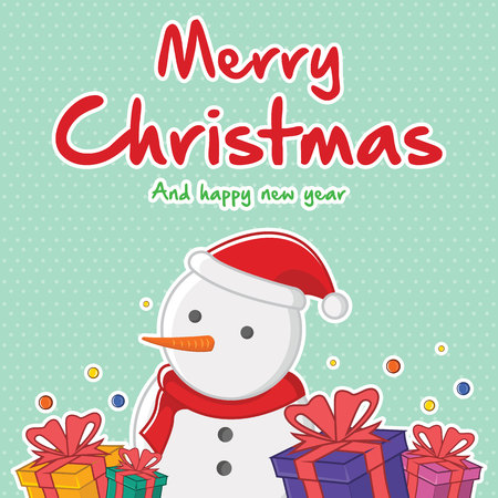 Style card of Christmas collection vector illustration with snowman Illustration