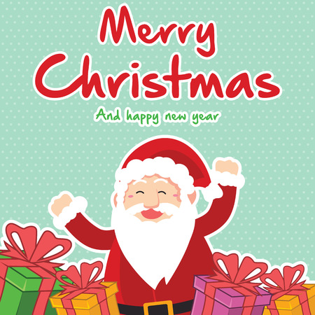 Style card of Christmas collection vector illustration with santa claus Illustration