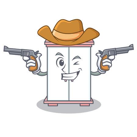 Cowboy cabinet character cartoon style vector illustration Illustration
