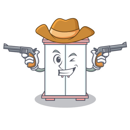Cowboy cabinet character cartoon style vector illustration Illustration