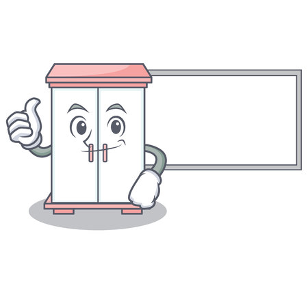 Thumbs up with board cabinet character cartoon style vector illustration
