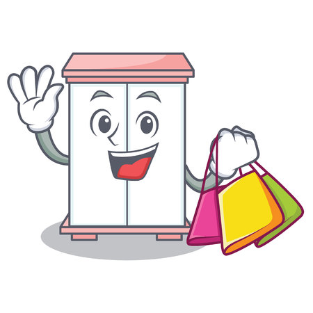 Shopping cabinet character cartoon style vector illustration