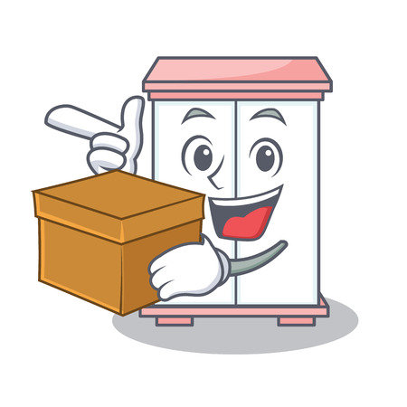 With box cabinet character cartoon style vector illustration