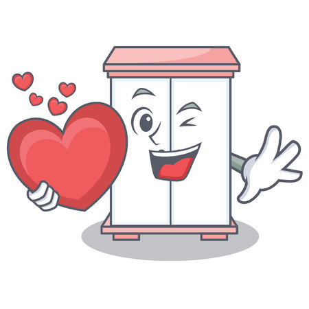 With heart cabinet character cartoon style vector illustration