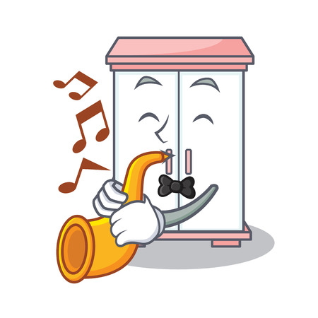 With trumpet cabinet character cartoon style vector illustration