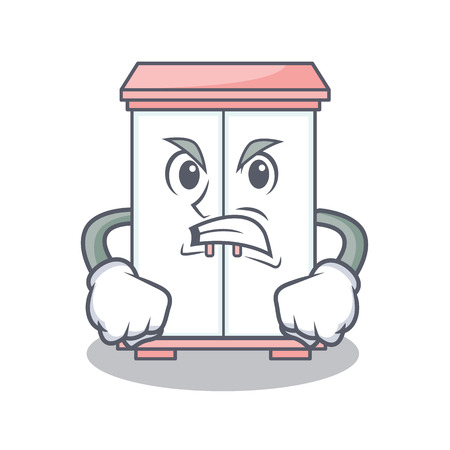 Angry cabinet character cartoon style