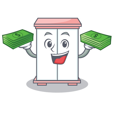 With money cabinet character cartoon style Illustration