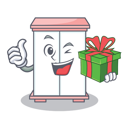 With gift cabinet character cartoon style vector illustration