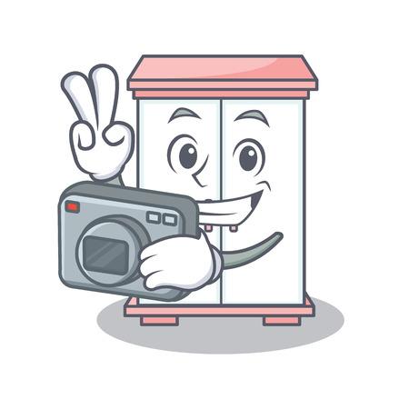 Holding camera cabinet character cartoon style vector illustration Çizim