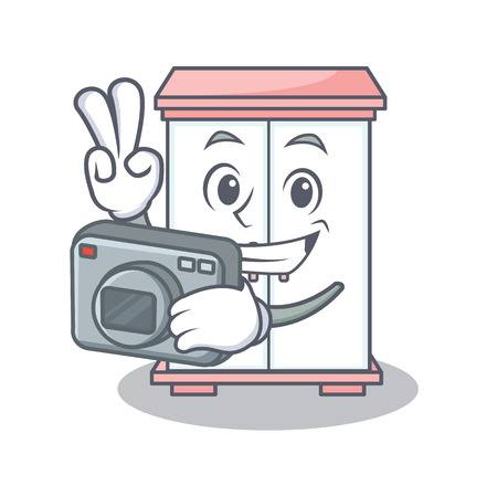 Holding camera cabinet character cartoon style vector illustration Illustration