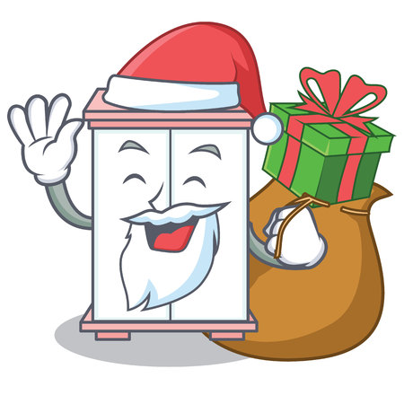 Santa with gift cabinet character cartoon style vector illustration Çizim
