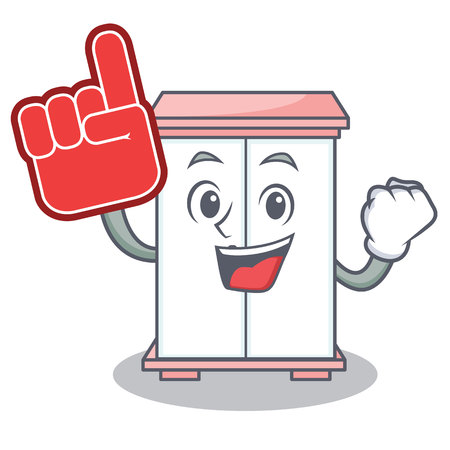 Foam finger cabinet character cartoon style vector illustration Illustration