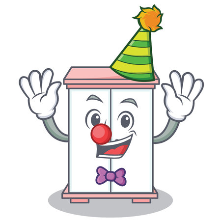 Clown cabinet character cartoon style vector illustration