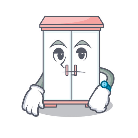 Waiting cabinet character cartoon style, vector illustration.