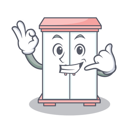 Call me cabinet character cartoon style vector illustration Illustration