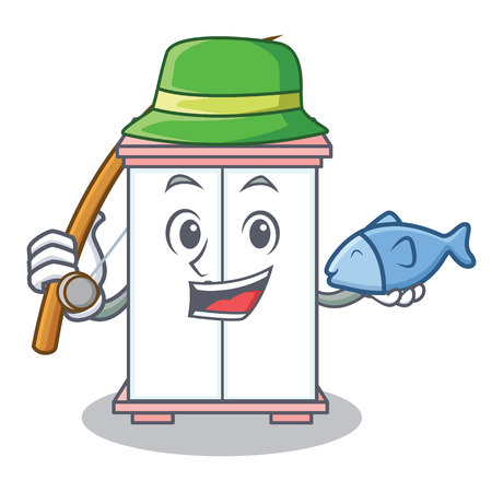 Fishing cabinet character cartoon style, vector illustration.