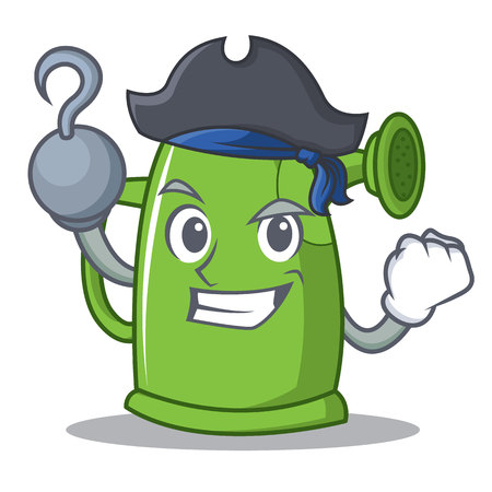 Pirate watering can cartoon character icon illustration.