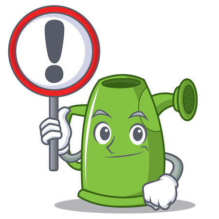 With sign watering can character cartoon, vector illustration.