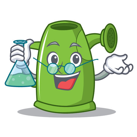 Professor watering can character cartoon vector illustration