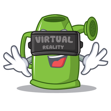 Virtual reality watering can cartoon character vector illustration Illustration