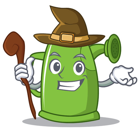 Witch watering can character cartoon