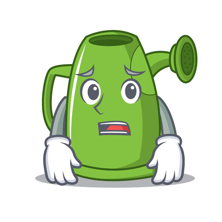 Afraid watering can character cartoon Illustration