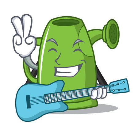 With guitar watering can character cartoon vector illustration Illustration