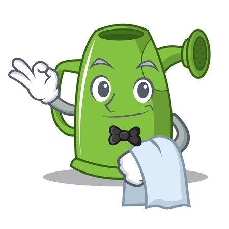 Waiter watering can character cartoon