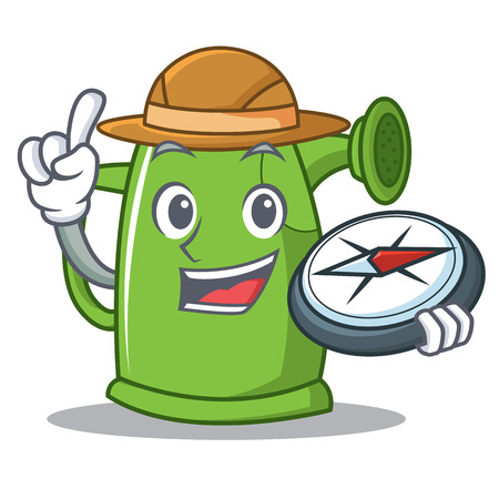 Explorer watering can character cartoon Illustration