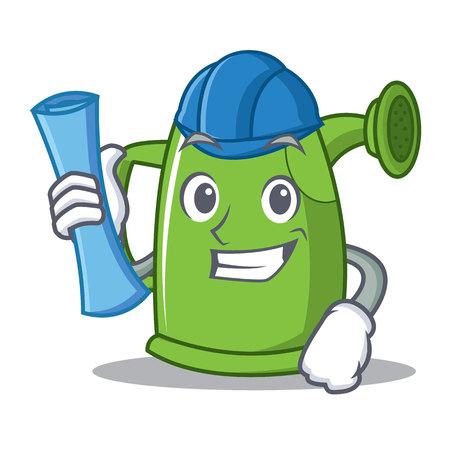 Architect watering can character cartoon vector illustration Illustration