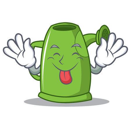 Tongue out watering can character cartoon Illustration