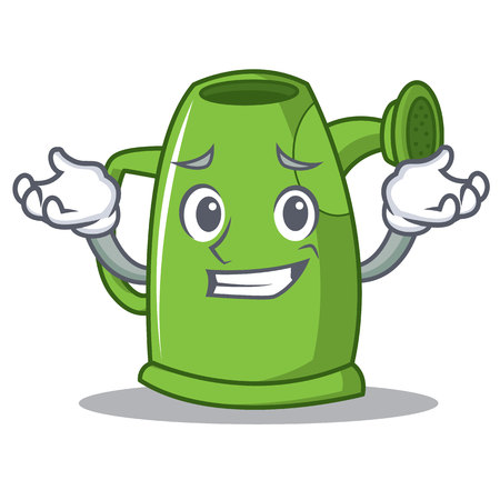 Grinning watering can character cartoon vector illustration