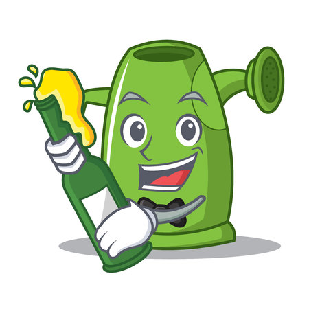 With beer watering can cartoon character. Illustration