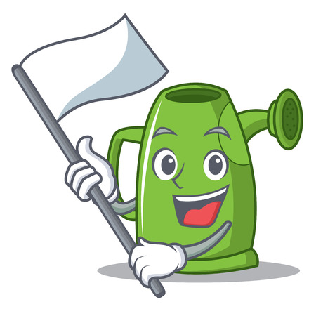 With flag watering can character cartoon vector illustration