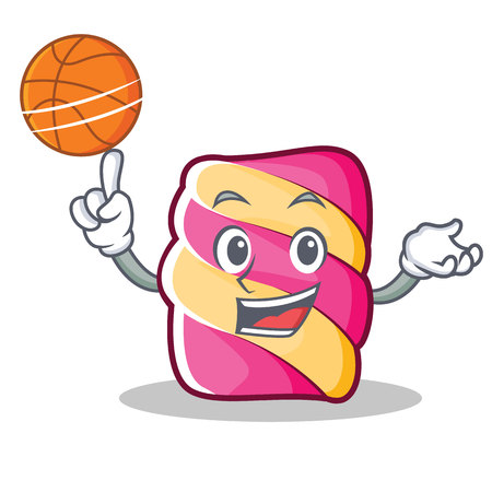 With basketball marshmallow character cartoon style vector illustartion