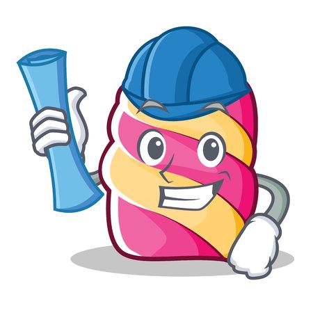 Architect marshmallow character cartoon style, vector illustration. Illustration