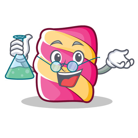 Professor marshmallow character cartoon style, vector illustration.