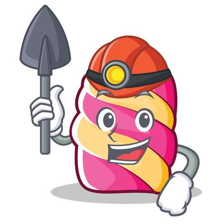 Miner marshmallow character cartoon style vector illustartion Illustration