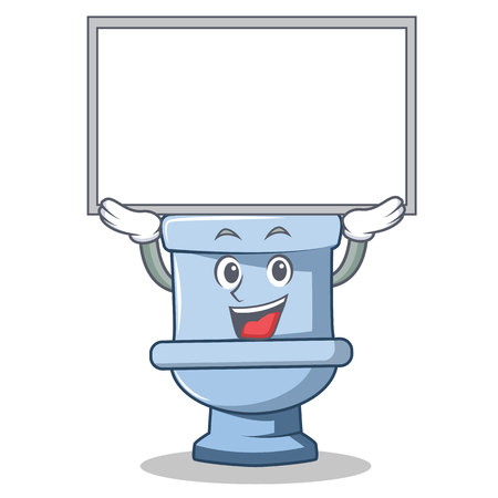 Up board toilet character cartoon style Illustration