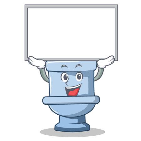 Up board toilet character cartoon style Illustration